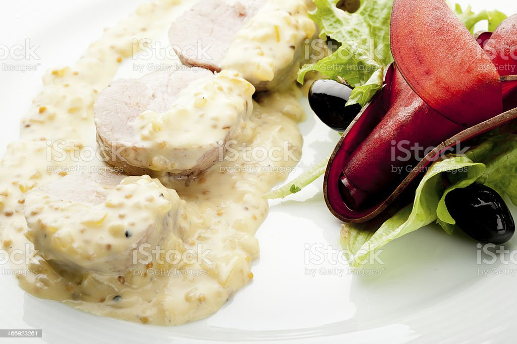 Pork Tenderloin with mustard sauce royalty-free stock photo