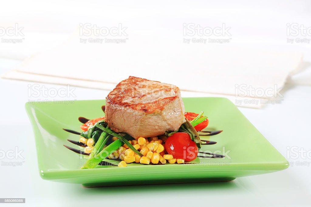 pork tenderloin with vegetables stock photo