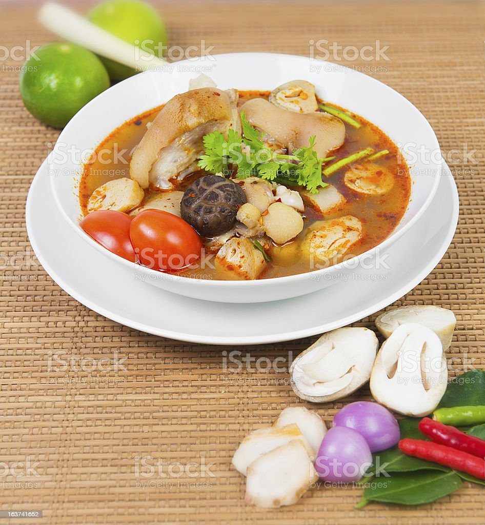 Pork Tom Yum Soup spicy royalty-free stock photo