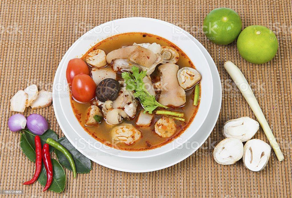 Pork Tom Yum Soup spicy royalty-free stock photo