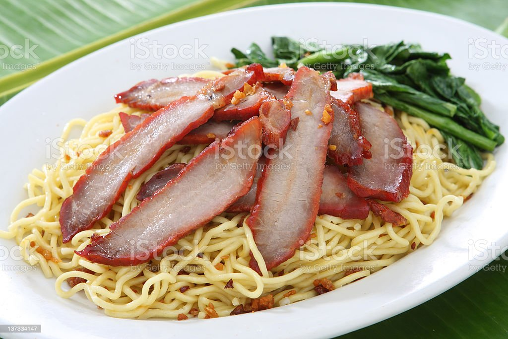 BBQ Pork with Egg Noodle stock photo