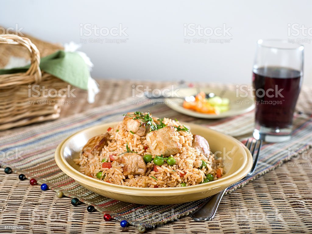Pork with Fried Rice stock photo
