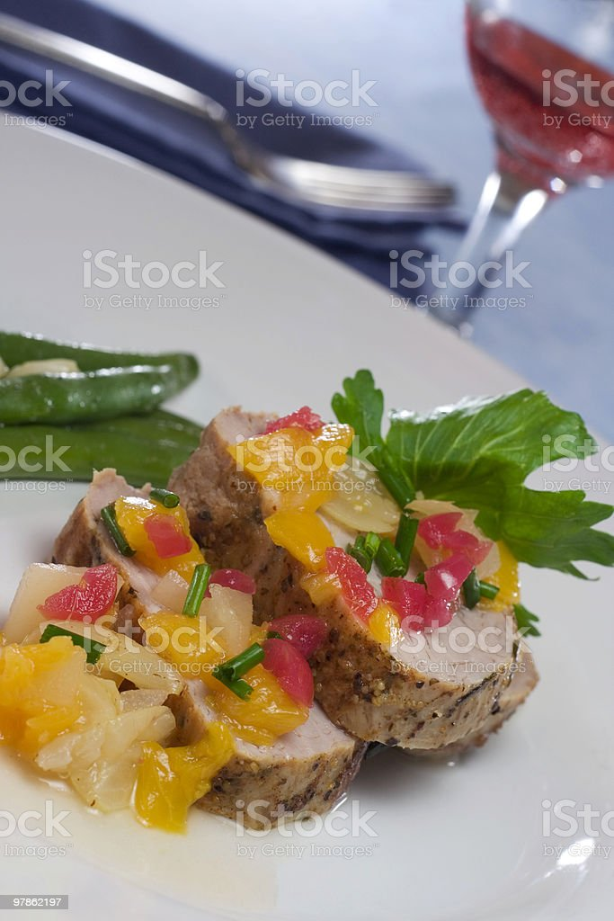 Pork with Fruit royalty-free stock photo
