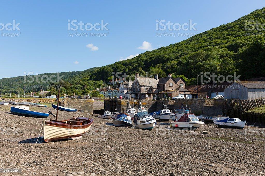 Porlock Weir Somerset England UK near Exmoor boats in summer stock photo