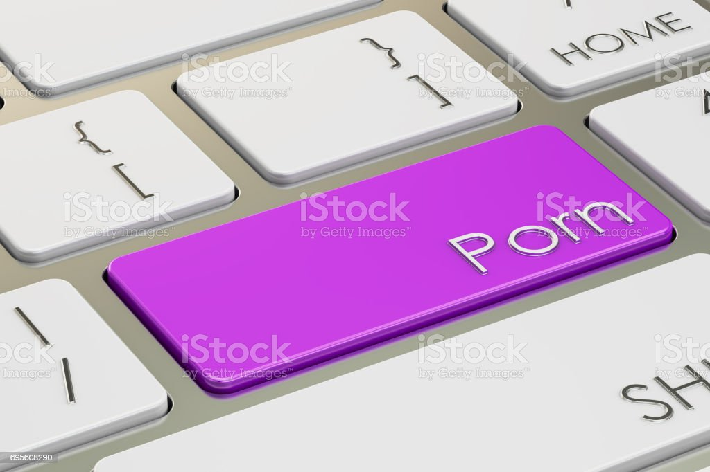 Porn Key on keyboard, 3D rendering stock photo