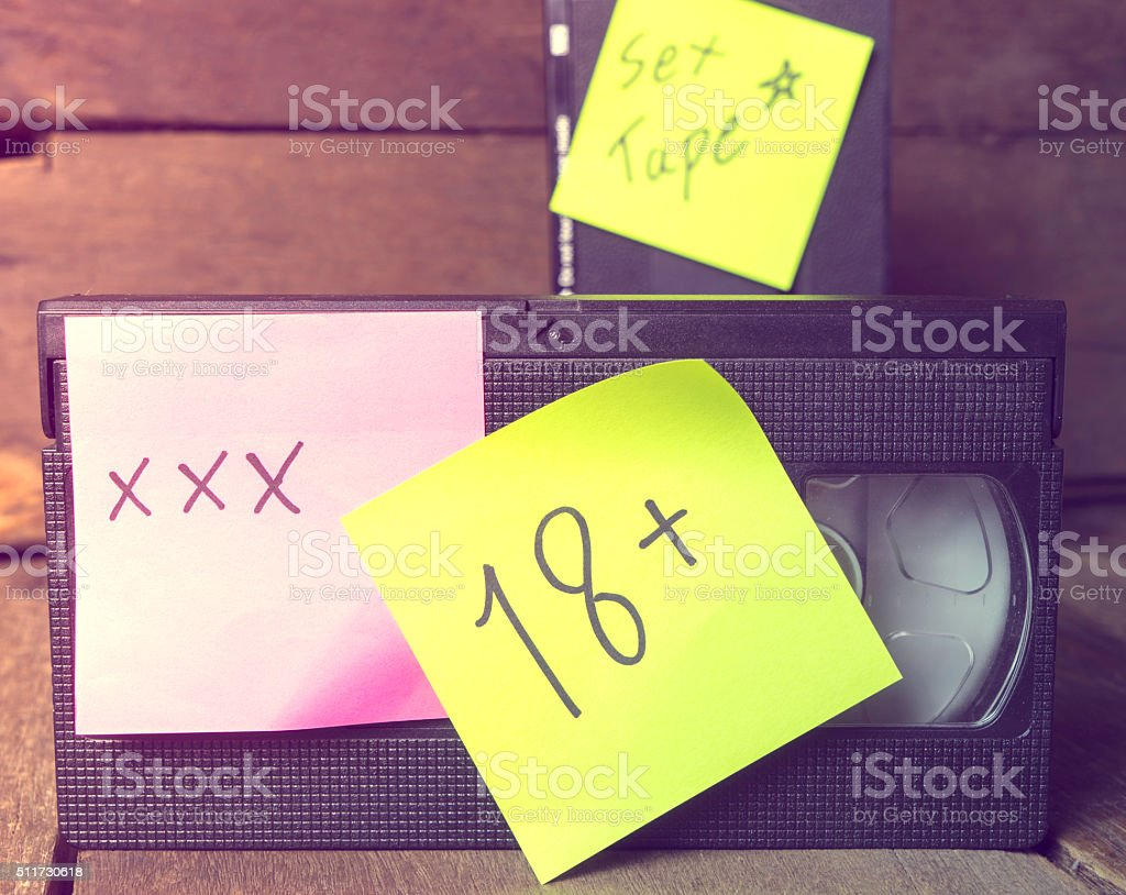 Pornographic rated warning on Video stock photo