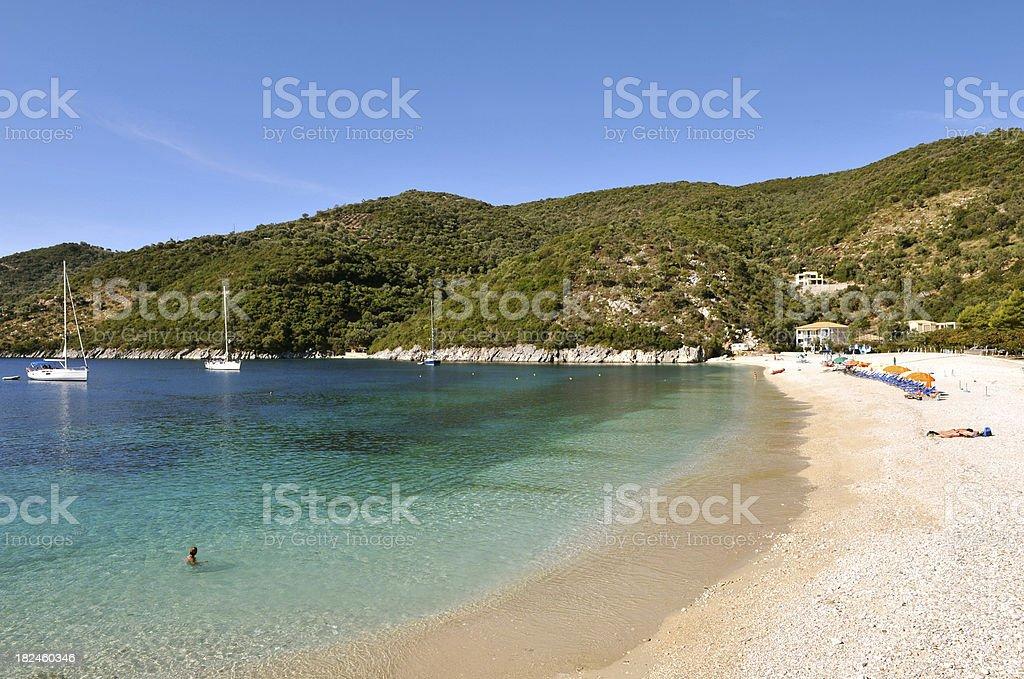 Poros beach on the Ionian Island of Lefkas, Greece stock photo