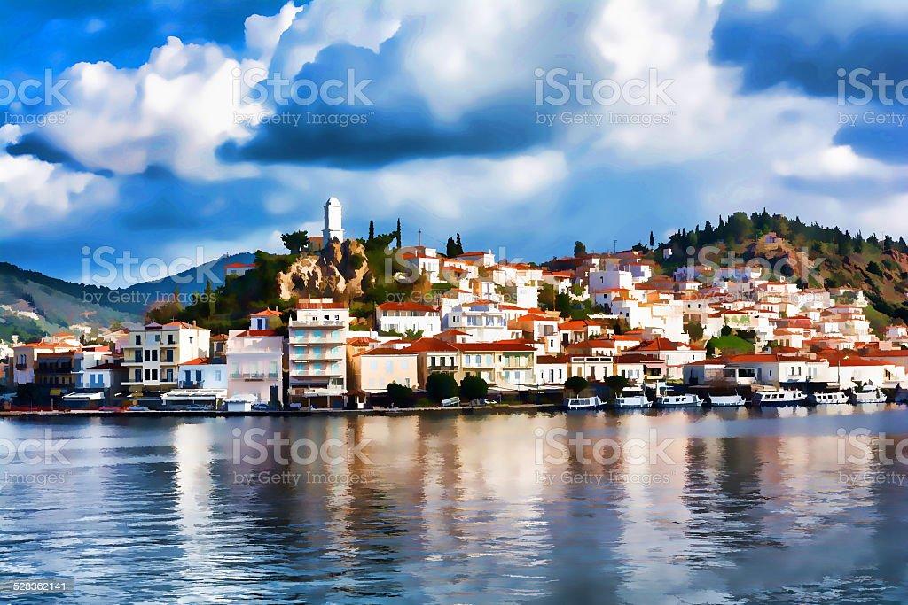 Poros Island, Greece - Impressionism effect stock photo
