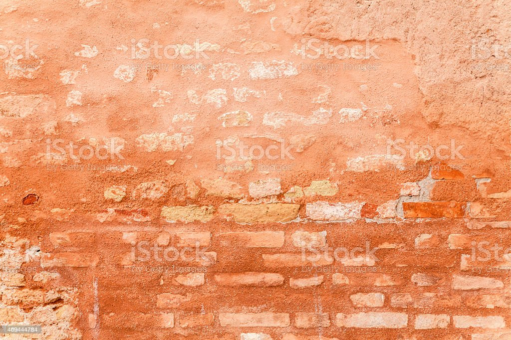 Porous Texture Of A Medieval Brick Wall. stock photo