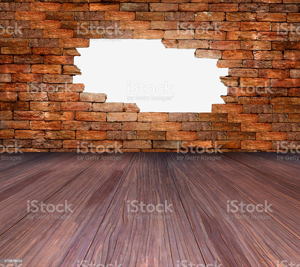 porous wall and wooden floor for background royalty-free stock photo