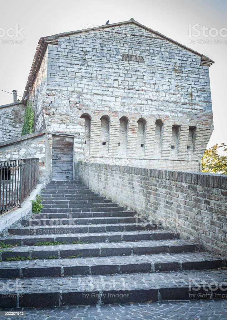 Porphyry Outside Staircase And Ancient Building stock photo