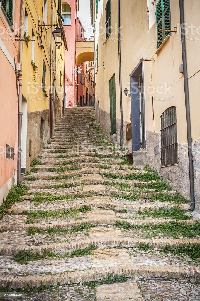 Porphyry Staircase In Medieval Village, Cervo Italy stock photo