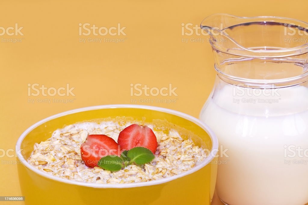 Porridge and milk royalty-free stock photo