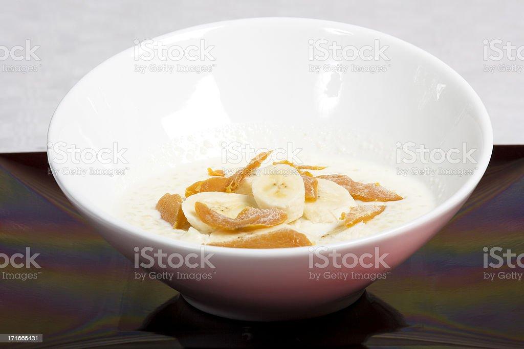porridge with banana & mango royalty-free stock photo