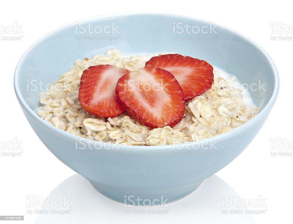 porridge with fresh strawberry isolated stock photo