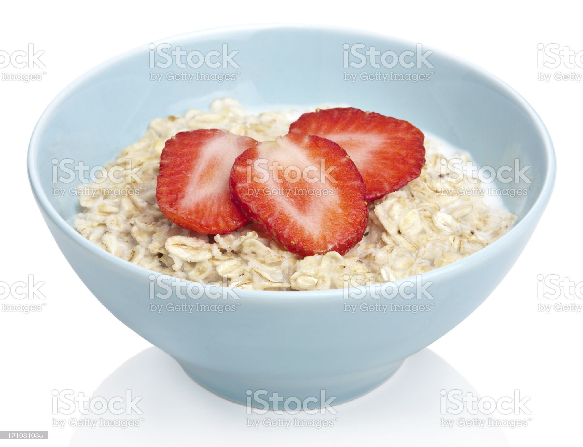 porridge with fresh strawberry isolated royalty-free stock photo