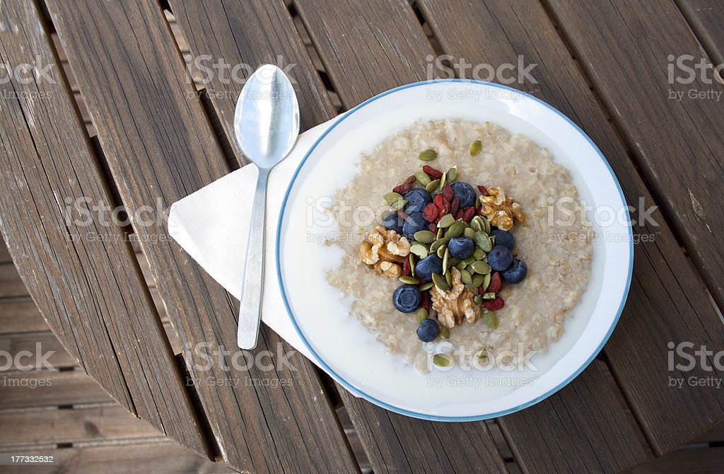 Porridge with goji berries / wolfberry royalty-free stock photo