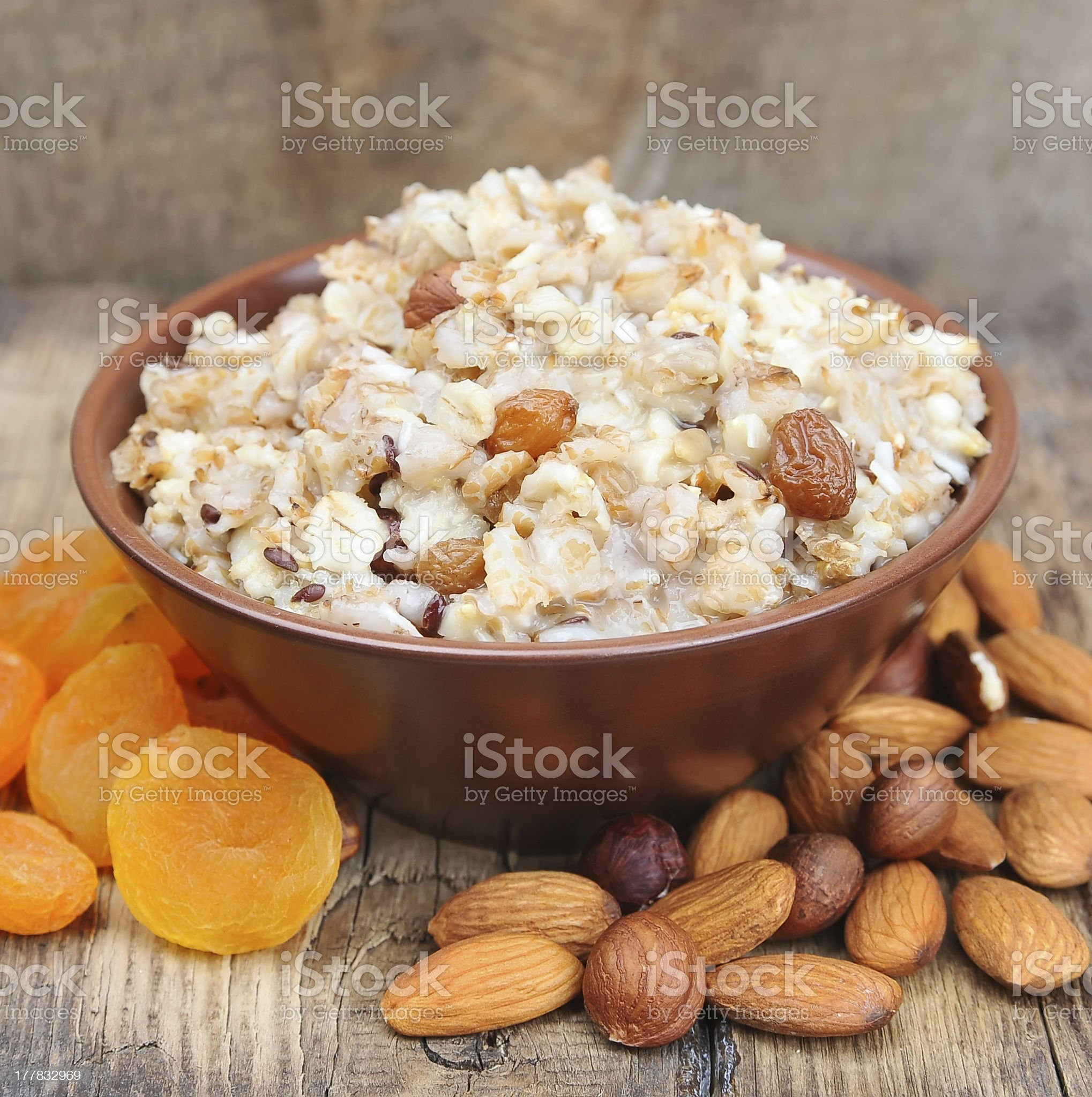 Porridge with nuts royalty-free stock photo
