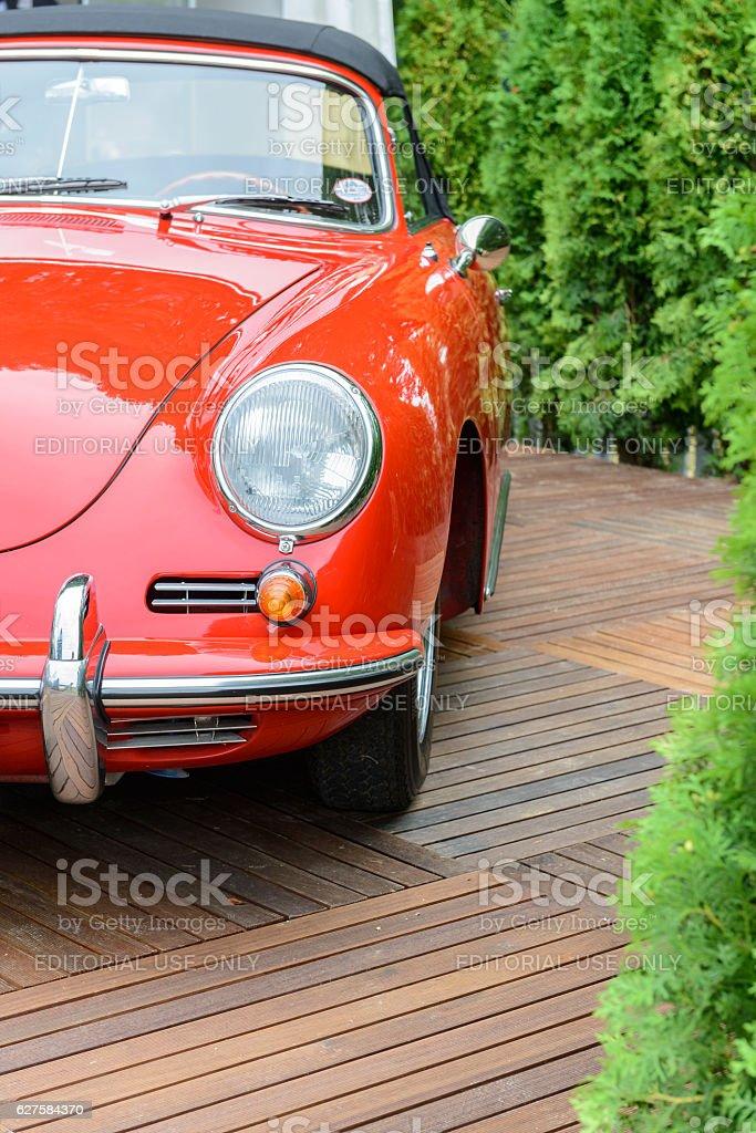 Porsche 356 C cabriolet classic sports car front view stock photo