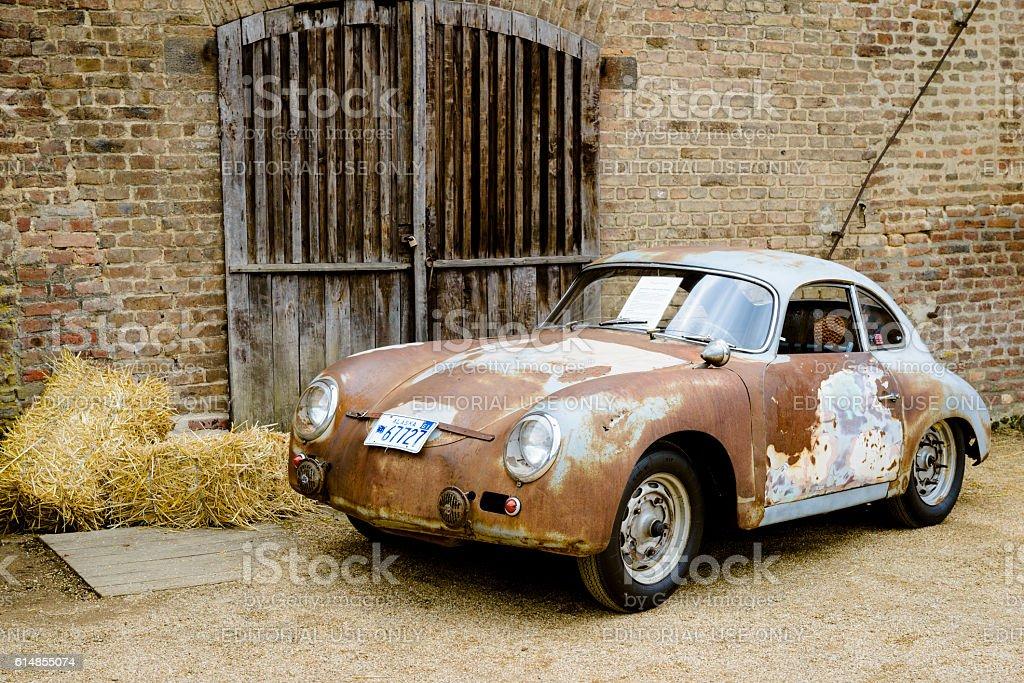 Porsche 356 classic car barn find stock photo