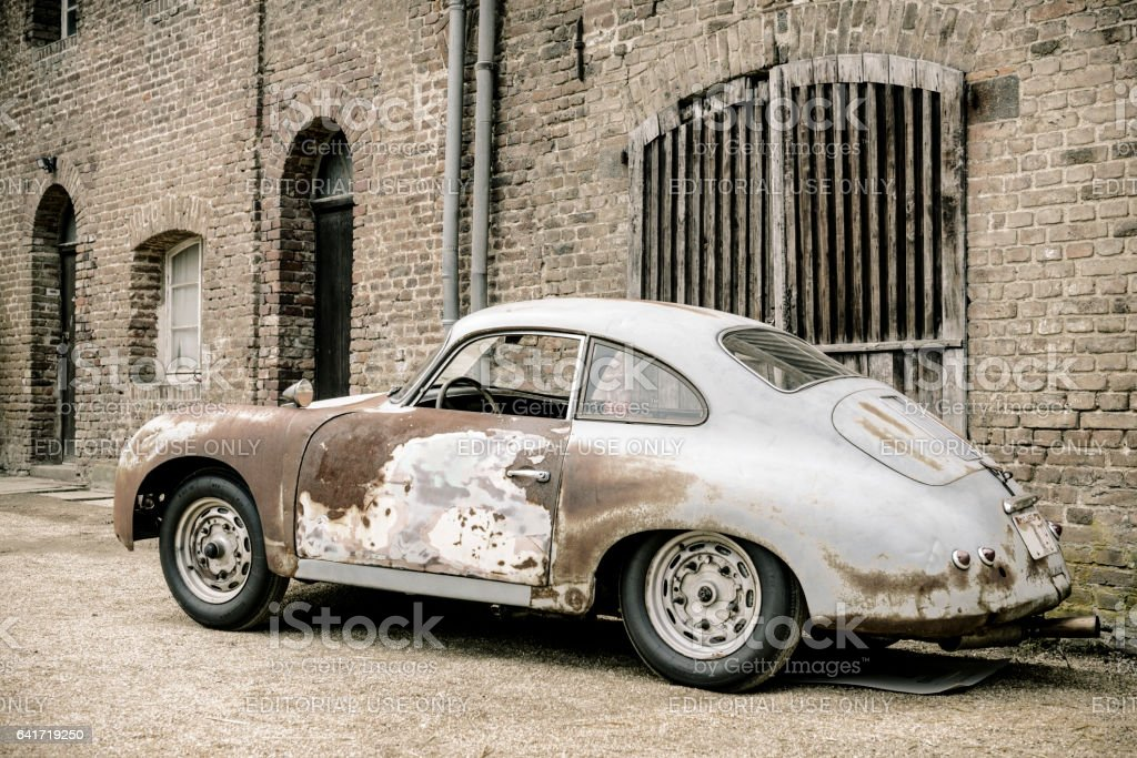 Porsche 356 classic car barn find stock photo