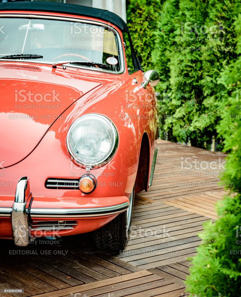 Porsche 356 classic sports car front view stock photo
