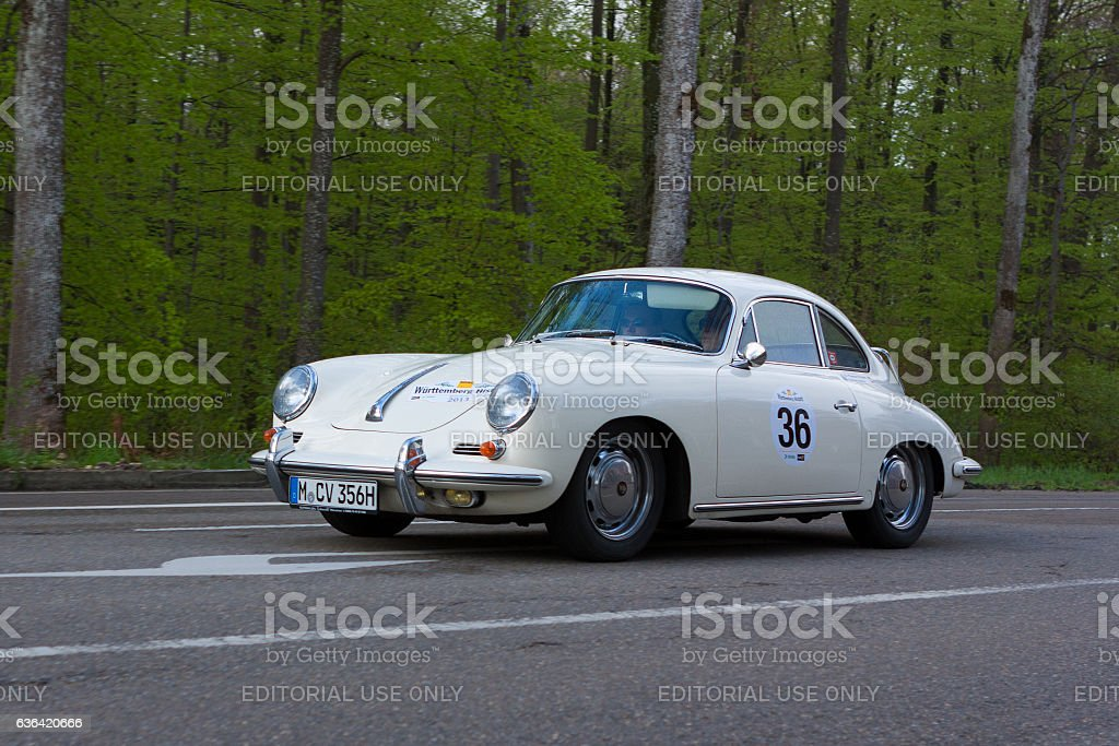 1965 Porsche 356 Coupe at the Wurttemberg Historic Rallye stock photo