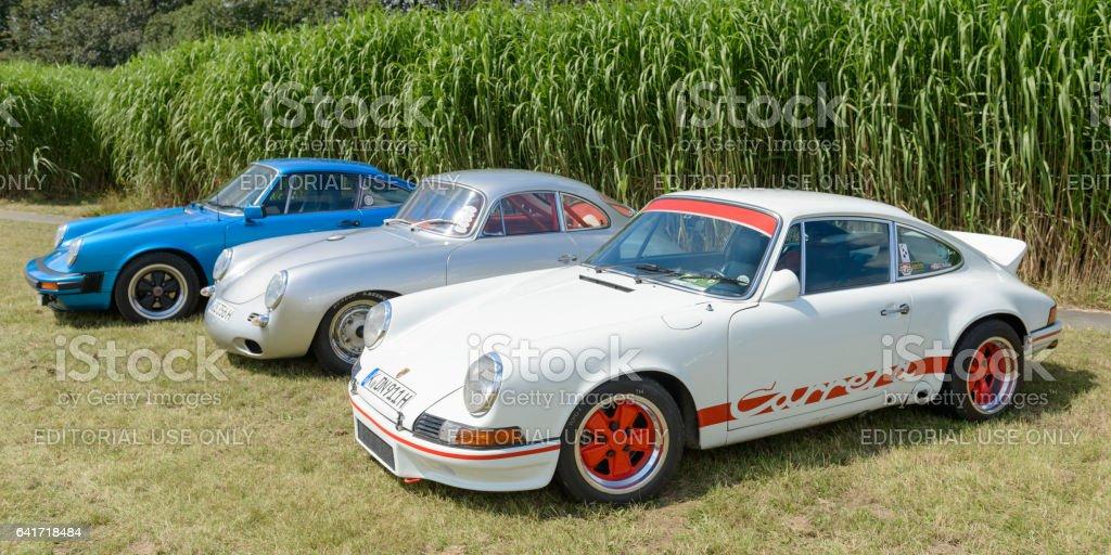 Porsche 911 Carrera RS, Porsche 356 and Porsche 911 stock photo