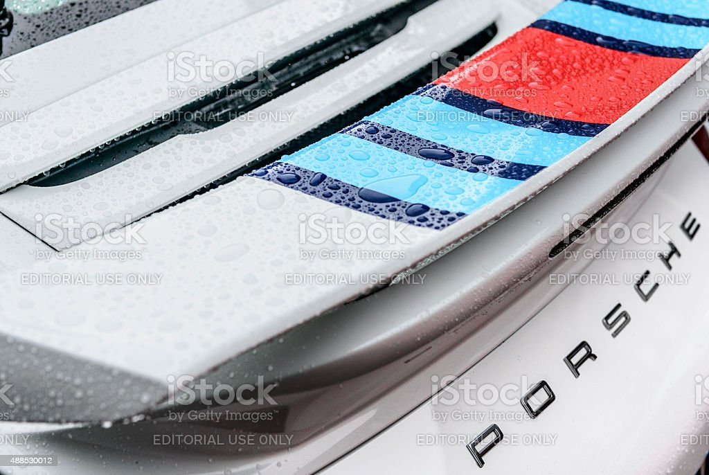 Porsche 911 Carrera S spoiler rear view stock photo