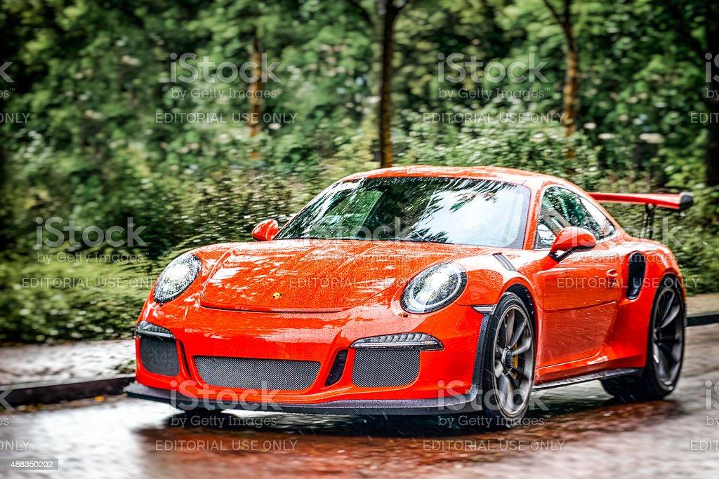 Zwolle, The Netherlands - September 5, 2015: Orange Porsche 911 GT3...