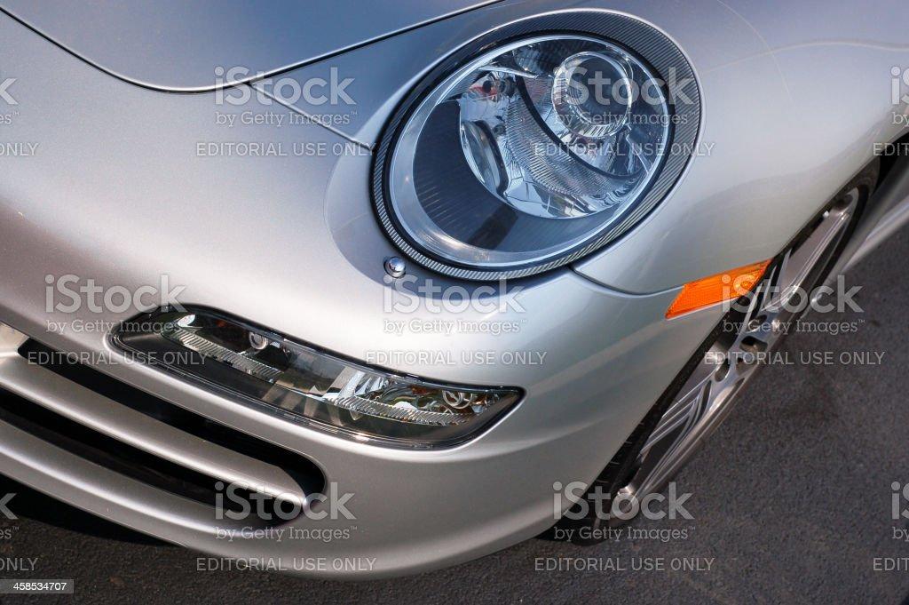 Porsche 911 Silver Sportscar Headlight royalty-free stock photo
