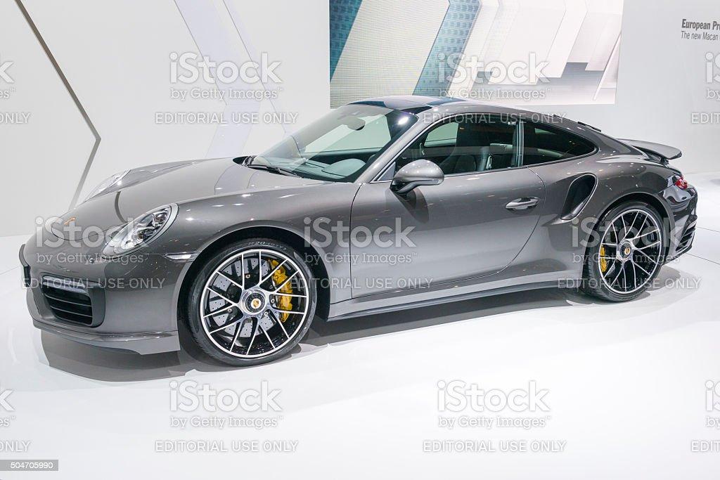 Porsche 911 Turbo S sports car stock photo