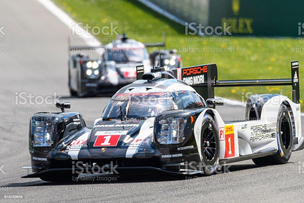 Porsche 919 Hybrid race cars at Spa Francorcahmps stock photo