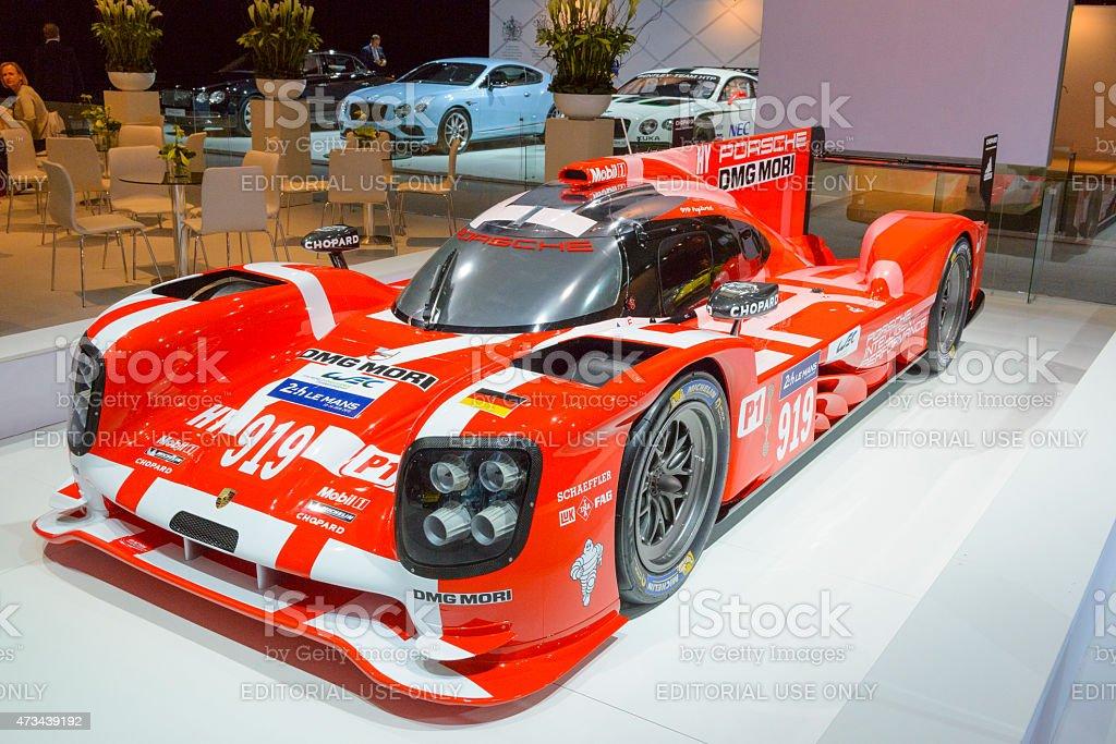 Porsche 919 Hybrid sports-prototype racing car stock photo