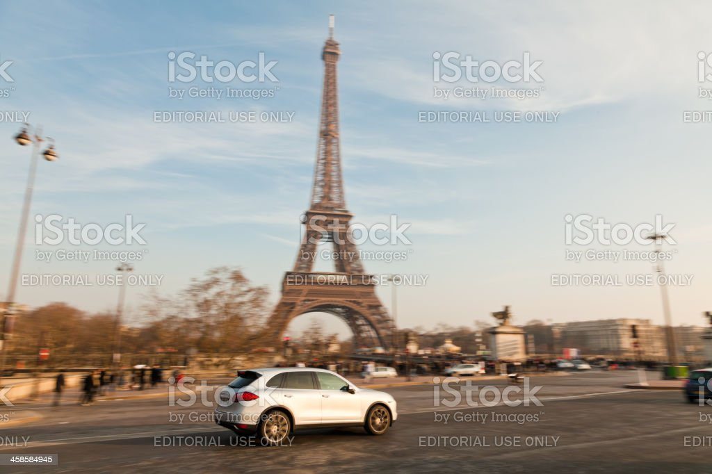 porsche at the eiffel tower royalty-free stock photo