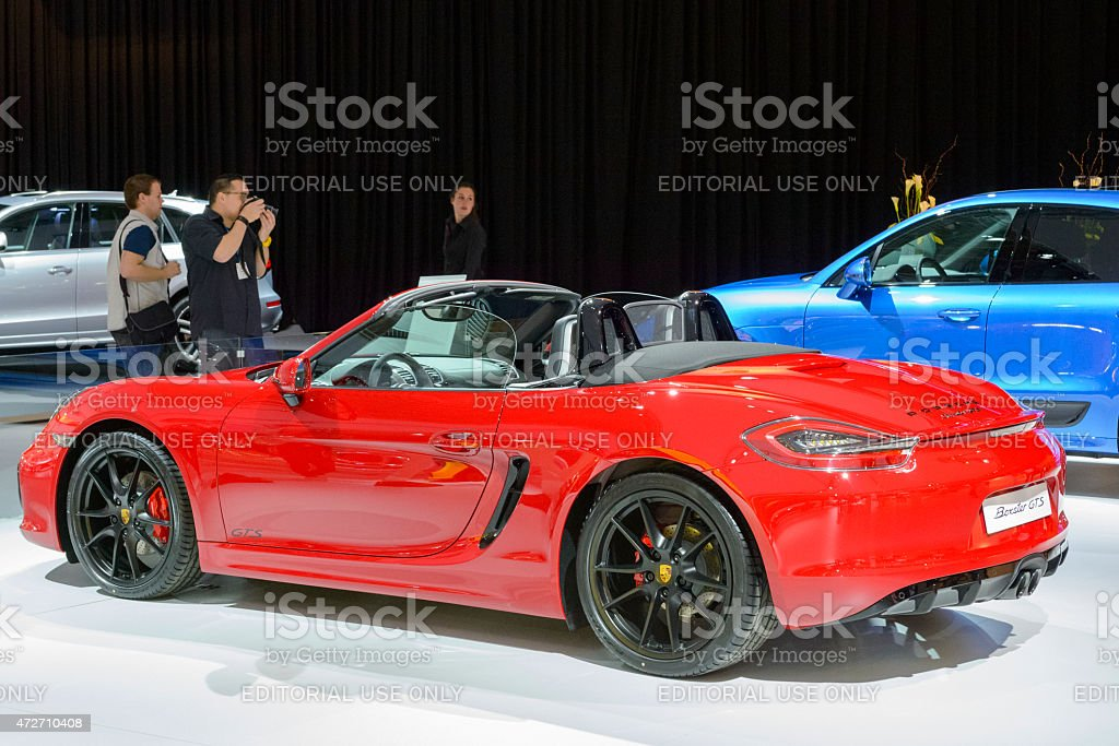 Porsche Boxster GTS roadster sports car rear view stock photo