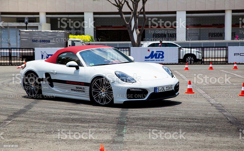 Porsche Boxster GTS sports car on the test road in Porsche World...