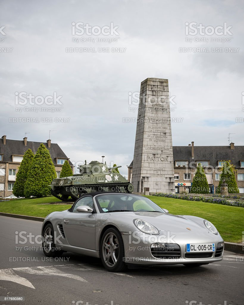 Porsche car and General Patton memorial in Avranches, France stock photo