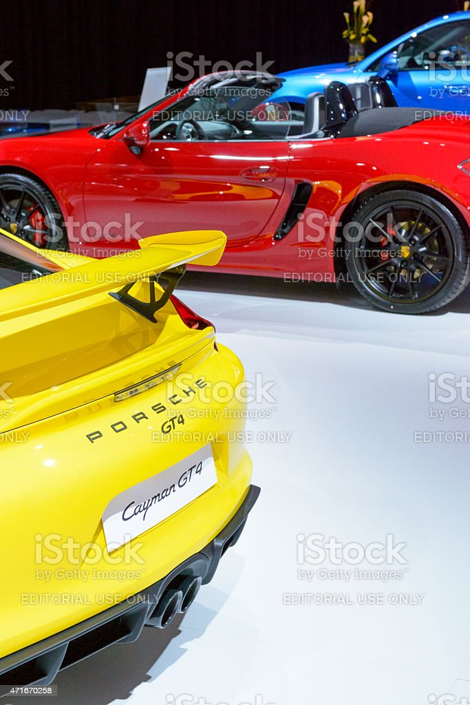 Porsche Cayman GT4 and Boxster sports cars stock photo