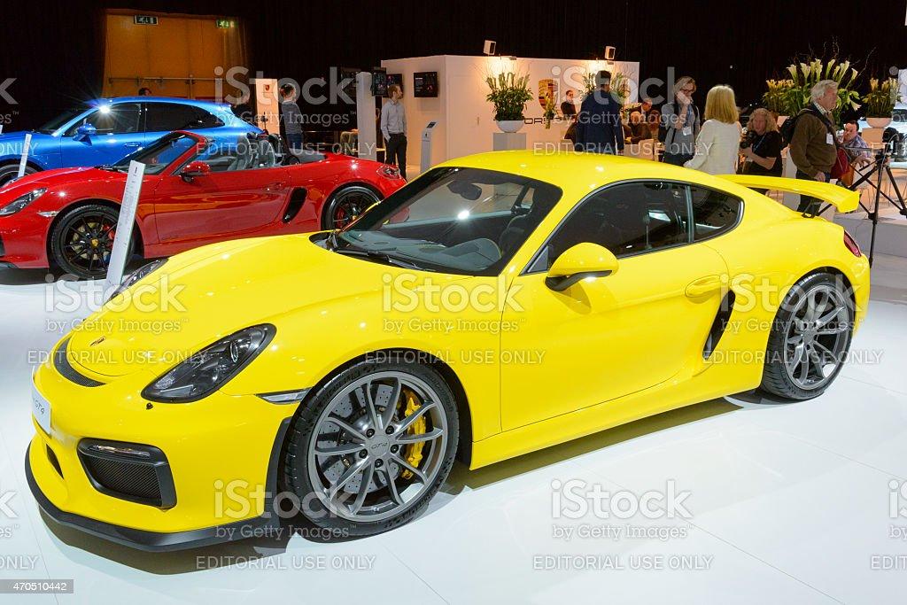 Porsche Cayman GT4 sports car stock photo