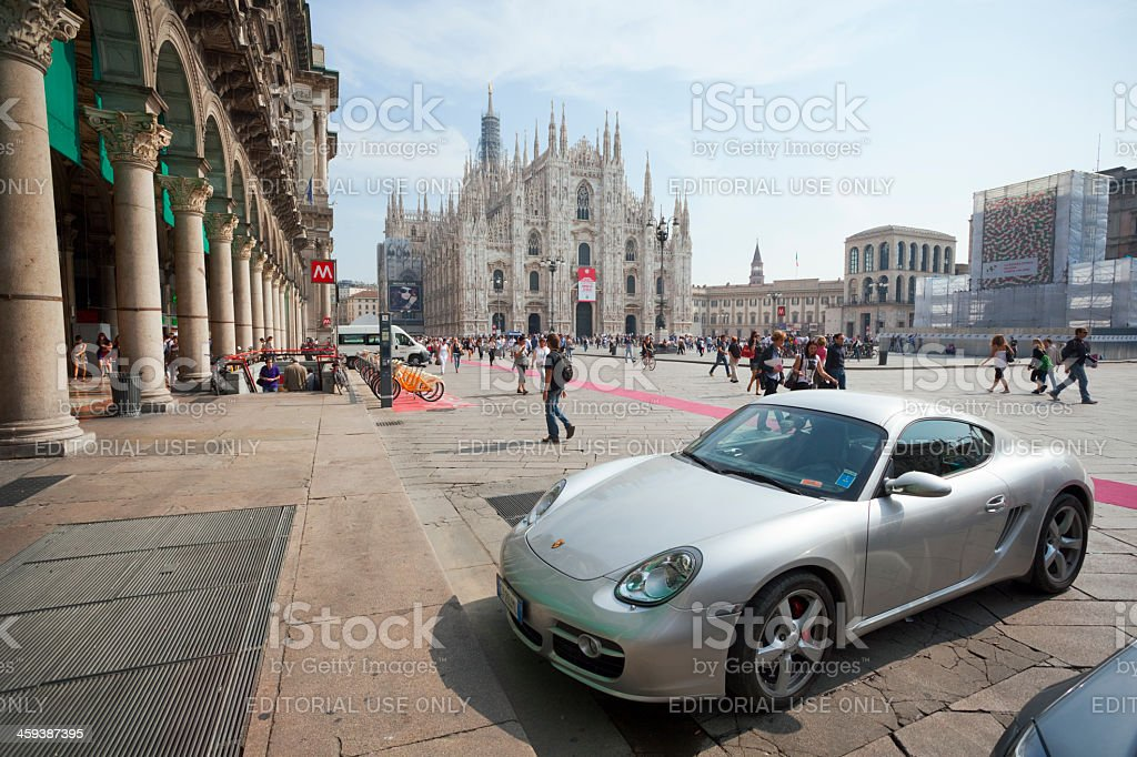 Porsche Cayman in Milan stock photo