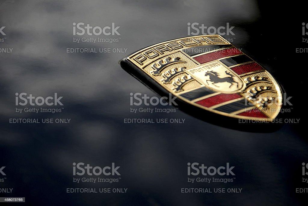Porsche Logo on Black, Macro stock photo
