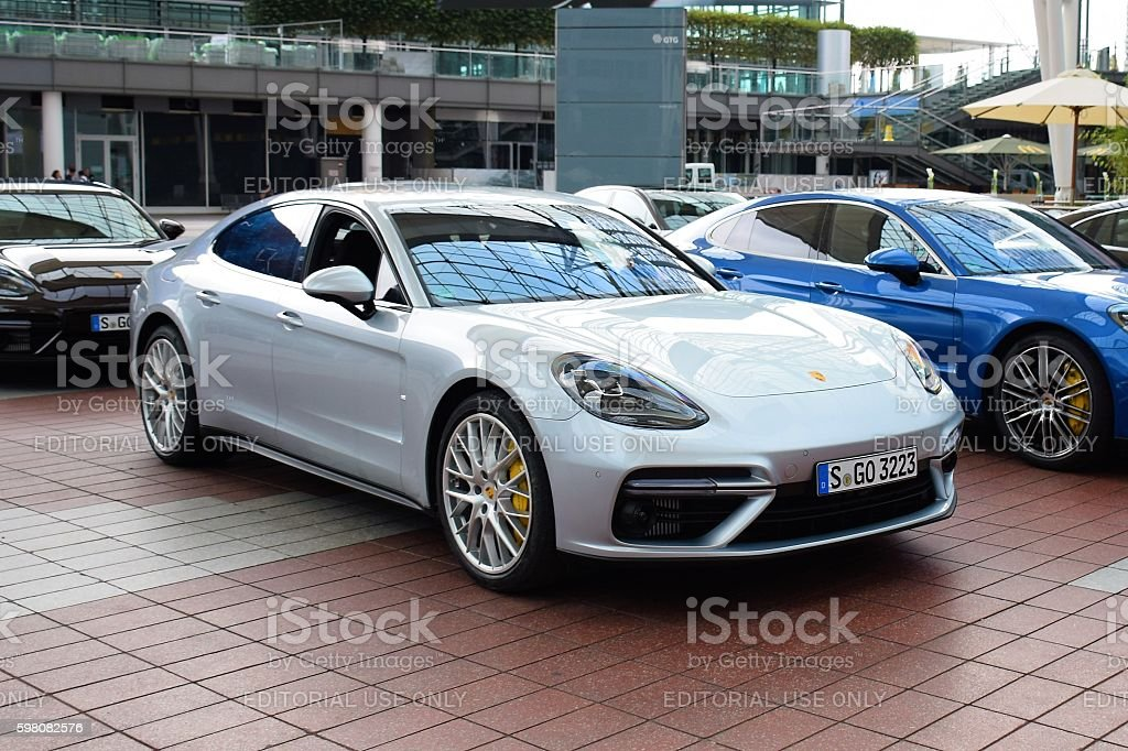 Porsche Panamera II on the parking stock photo