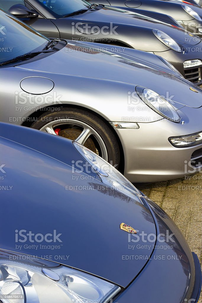 Porsche parking lot with Porsche 911 sports cars stock photo