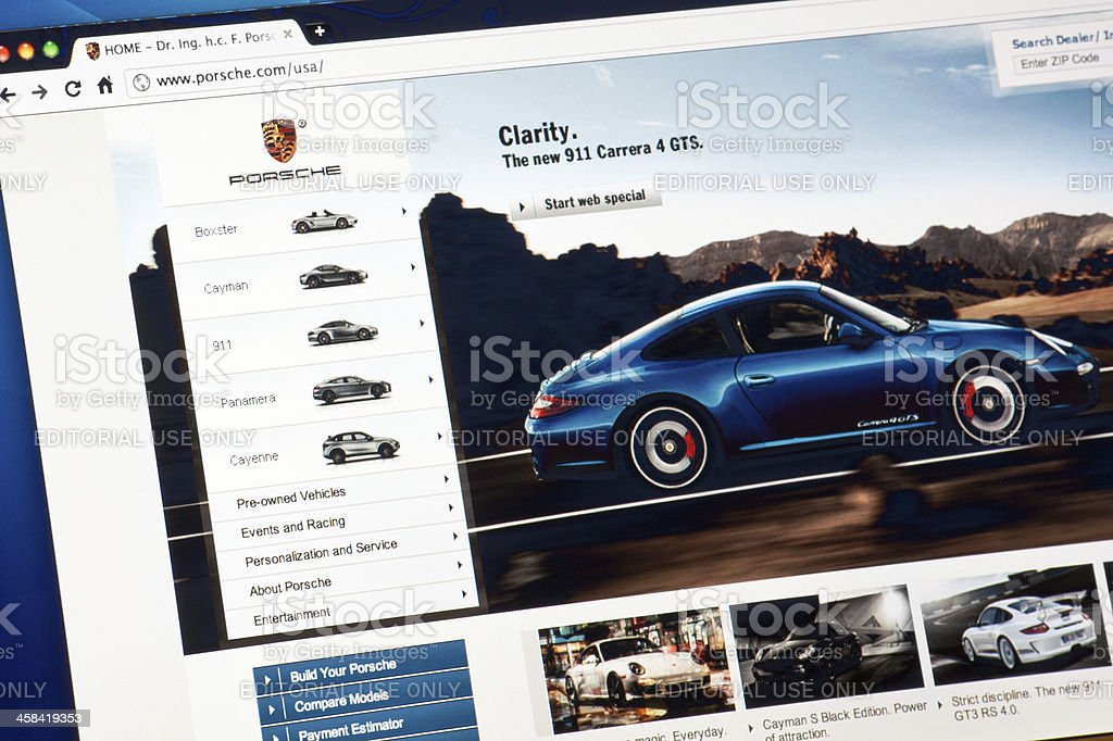 Porsche.com Web Page on Internet royalty-free stock photo