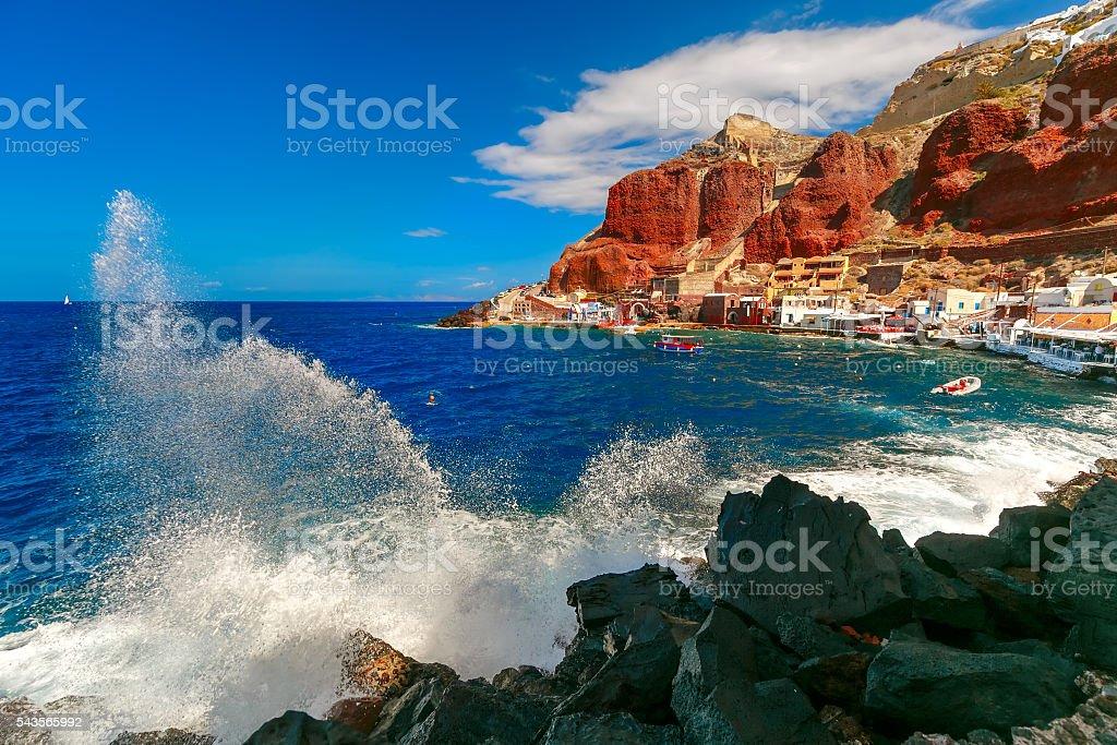 Port Amoudi of Oia or Ia, Santorini, Greece stock photo