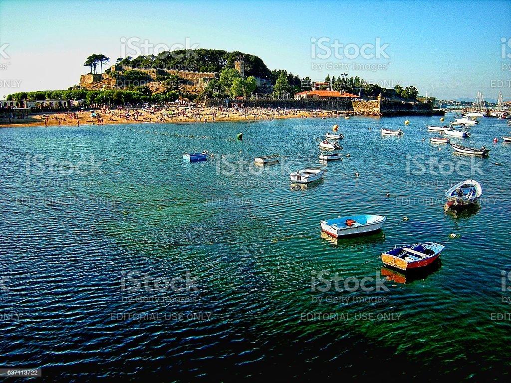 Port and beach of Baiona (Galicia, Spain) stock photo