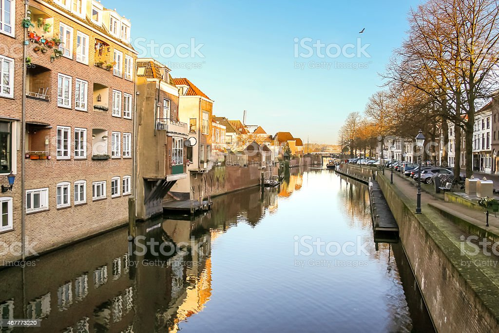 Port and canal embankment in the Dutch town of Gorinchem stock photo