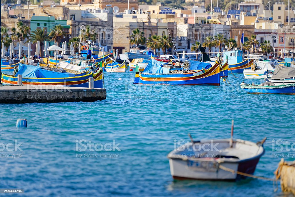 Port and Luzzu in Marsaxlokk, Malta stock photo