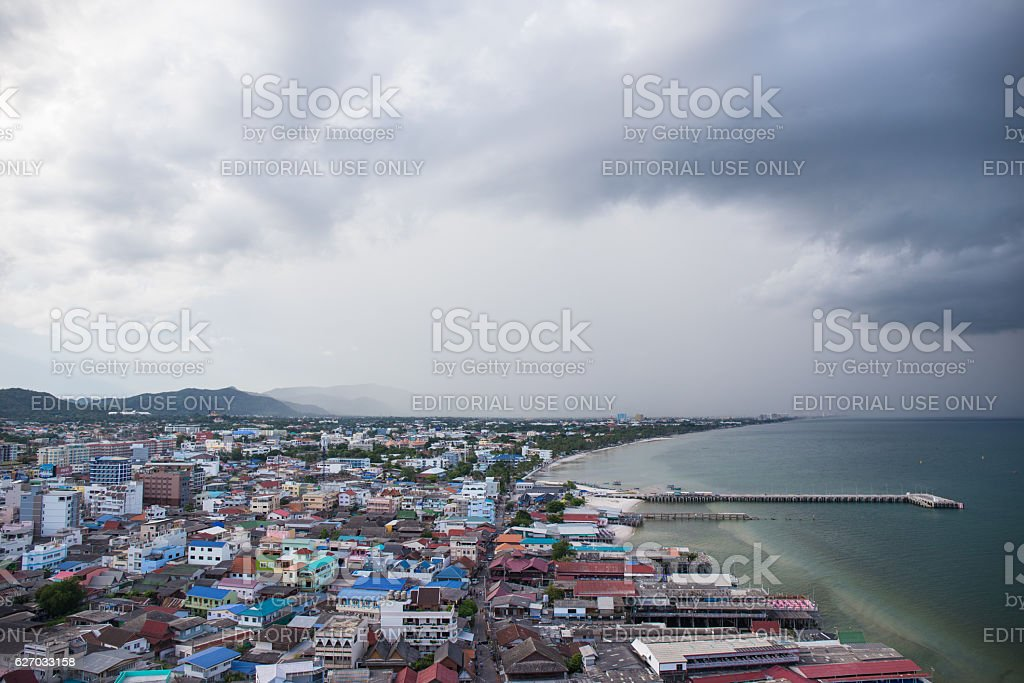 Port and old city area of Hua Hin, Thailand stock photo